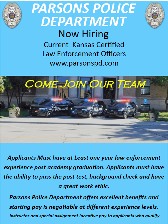 Parsons Police Department is Now Hiring