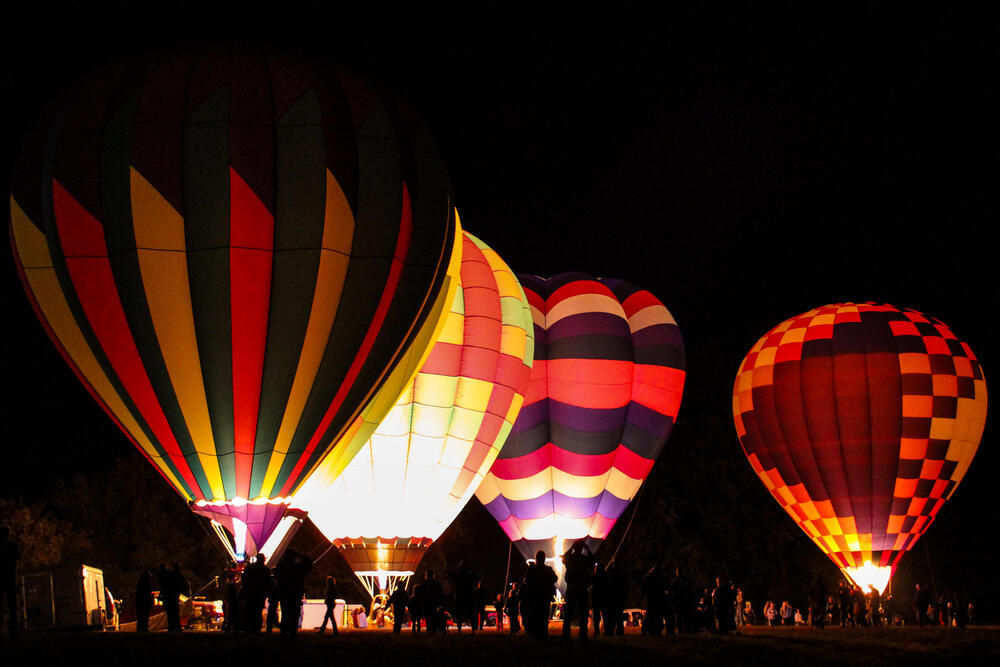 A close up on two hot air balloons